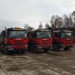 3 David Ritchies red lorries lined up