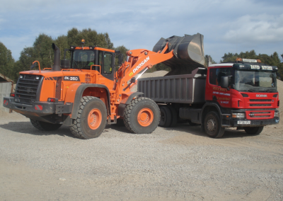 Quarry products being loaded into a lorry